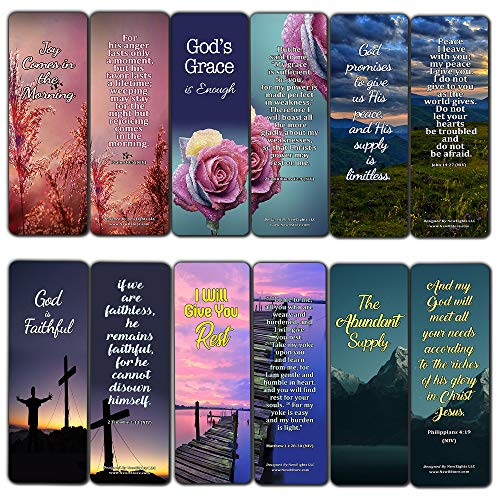 Bible Verses Bookmarks for When Your Faith is Feeble (12-Pack) - Church Memory Verse Sunday School Rewards - Trust When It Doesn't Make Sense Scriptures Assorted Bulk Pack