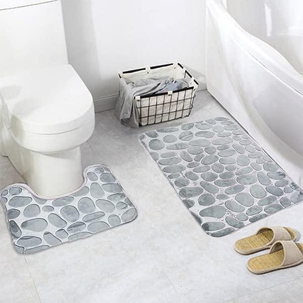 ELEOPTION 底座和浴垫套装豪华超细纤维聚酯快干马桶防滑橡胶支撑 2 件浴室底座浴室垫套灰色