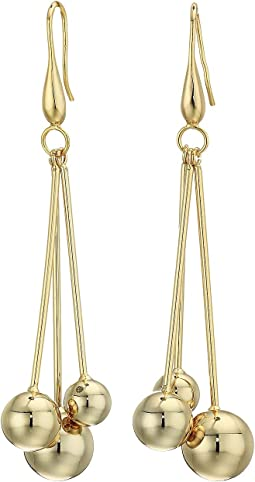 "3"" Polished Gold Bar with Small To Large Gold Balls Drop Fishhook Earrings"