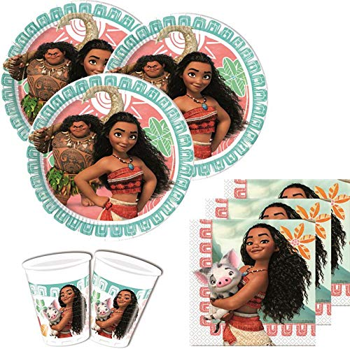 52 Teile Disney Vaiana Party Deko Set für 16 Kinder