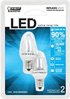 Feit Electric BPC7/LED Three LED Night Light Bulb with Candelabra Base, Clear, 2 Pack