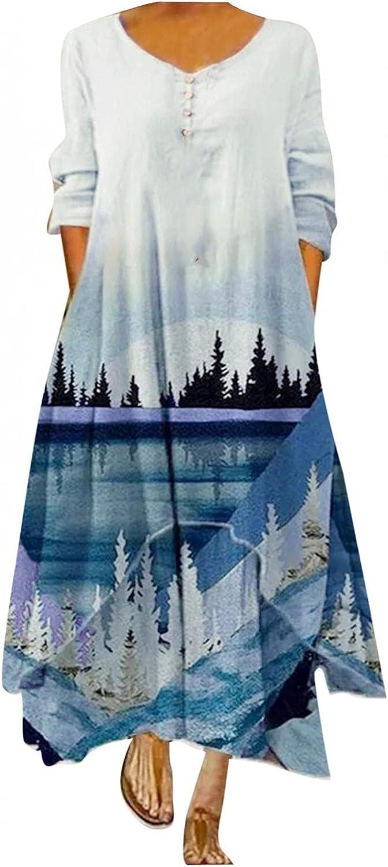 Xinantime Women Bohemian Vintage Dress Irregular Hem Maxi Dresses Long Sleeve Plus Size Dress Casual Printed Skirts