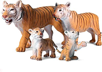 Tiger Figurine, Realistic Plastic Wild Tiger Figurine Set for Collection Science Educational Prop, Miniature Tiger Statue, Forest Style Home Decor Accessories or Cake Toppers Decoration, Pack of 4