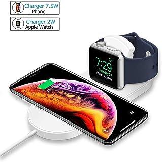 Qiワイヤレス充電器 2 in 1充電スタンド 三種類の充電モード 急速充電可能iPhone XsMax/8/X/8Plus/XR/XS 7.5W 対応 Galaxy Note9/S9/S9 Plus/Note8/S8/S8 Plus/S7/S7 Edge/S6 Edge Plus 10W対応 Apple Watch Series1/2/3/4 2W対応 その他Qi対応機種も適用 ホワイト