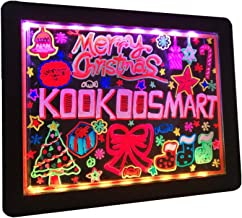 Kookoosmart LED Writing Message Board, Neon Glow Drawing Board, Light Up Flashing Box Message, Erasable Board Arts and Acr...