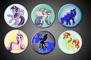 My Little Pony Magnets EXPANDED Pack Princess Celestia, Cadence, Princess Twilight Sparkle, Luna, Nightmare Moon, Sunset Shimmer for fridge lockers magnet boards whiteboards
