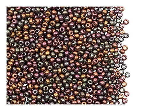 Rocailles Preciosa 20 Gramm (ca. 1820 Stück) Tschechische Glas, Größe 10/0 (2,2mm - 2,4mm), Farbe: Purple Iris Gold (Violet Rainbow) (01640