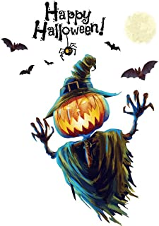 MEANIT Halloween Wall Decals Wall Stickers Black Window Clings Pumpkins Ghost Witch Bats for Halloween Party Decoration