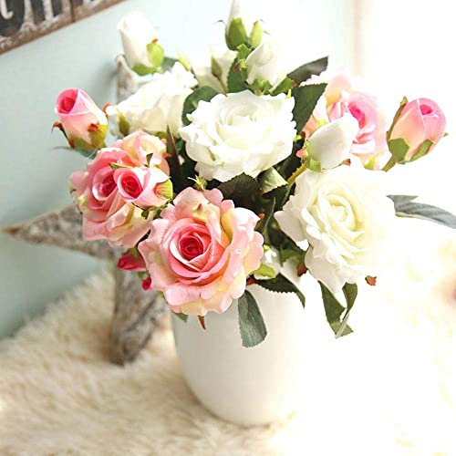 Artificial Flowers, Fake Flowers Silk Plastic Artificial Roses 9 Heads Bridal Wedding Bouquet for Home Garden Party Wedding Decoration 3PCS