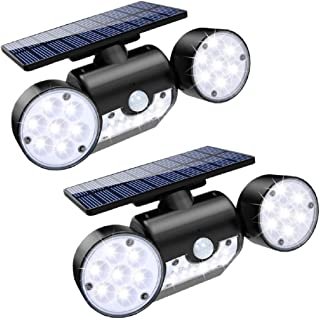 DREAMSOULE 2 Pack Outdoor Solar Light, Motion Sensor LED Wall Light Wall-Mount Waterproof Rotatable Dual Head Outdoor Security Lights for Front Door Yard Garden Swimming Pool