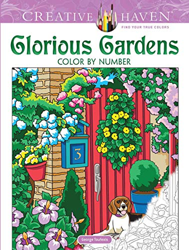Creative Haven Glorious Gardens Color by Number Coloring Book
