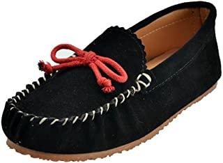 MOC PAPA Girls Boys Cow Suede Slip-on Loafer Slippers Moccasin Slippers