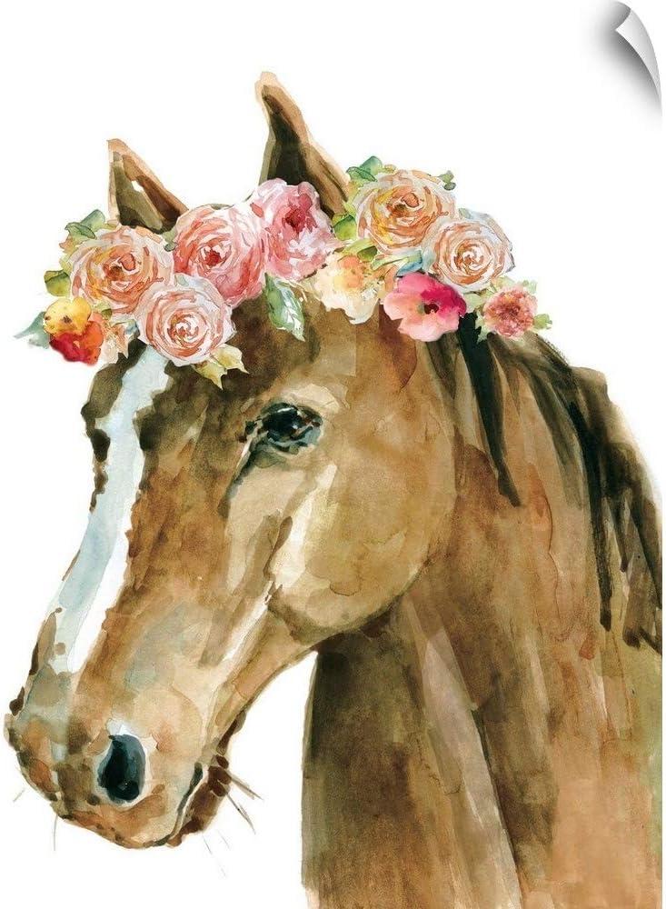 送料無料でお届けします CANVAS ON DEMAND Flower Crown Artwork Decal 至上 Wall Horse
