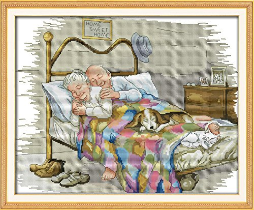 Maydear Cross Stitch Stamped Kits Full Range of Embroidery Starter Kits Beginners for DIY 11CT 3 Strands - The Old Married Couple 22.4×18.1(inch)