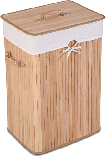 2021 Giantex Laundry Hamper Bamboo online sale Laundry Basket, Clothes Hamper with Lid and Removable Liner, Collapsible Storage Basket with Handles, Rectangle Clothes Bin for popular Laundry Room Bedroom (Beige) outlet sale