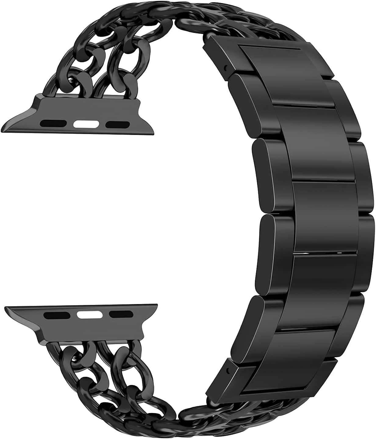 Aowemea Compatible for Apple Watch Series SE 6/5/4/3/2/1 38/40mm, Shiny Diamond Cowboy Chain Stainless Steel iWatch Band Women Wristband Strap Bracelet (Black, 38/40mm)