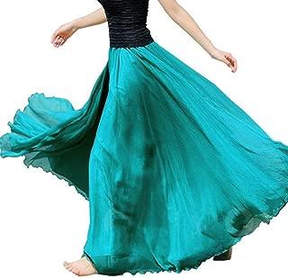 Women Chiffon Long Skirt Boho Elastic Waist Floor Length Big Hem Solid Beach Maxi Skirt