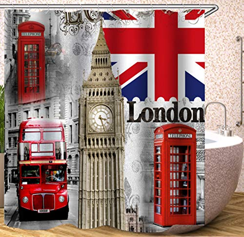 AZZXZONa Polyestergewebe Bad Gardinen 3D Duschvorhang London Bus Druck Duschvorhang Wasserdicht Mehltau 180X200 cm Mit 12 Haken Hotel Wohnkultur