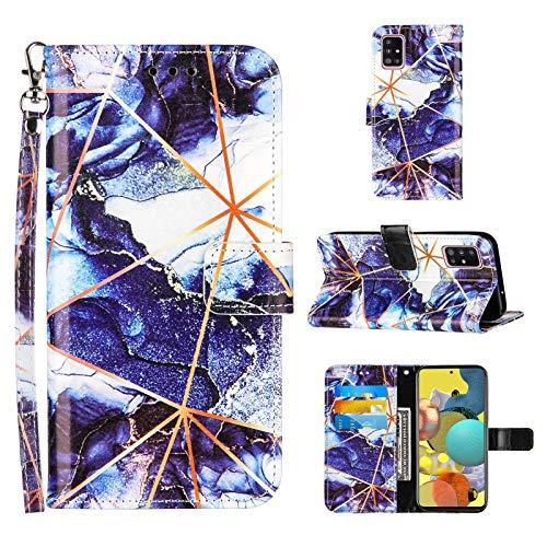 Ostop Hülle Kompatibel mit Samsung Galaxy A51 Schutzhülle Brieftasche Premium Leder Flip Tasche Handyhülle für Mädchen Männer [Handschlaufe][Standfunktion][Kartenfach],Marmor Dunkelblau