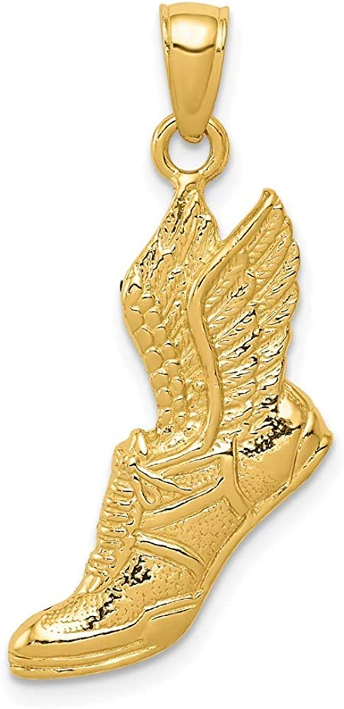 14k Polished Running 67% OFF of fixed price Shoe Pendant C2661 style 30mm 17mm Easy-to-use