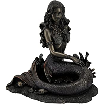 Controse Silver-Toned Stainless Steel Mermaid Skull Statue CS002
