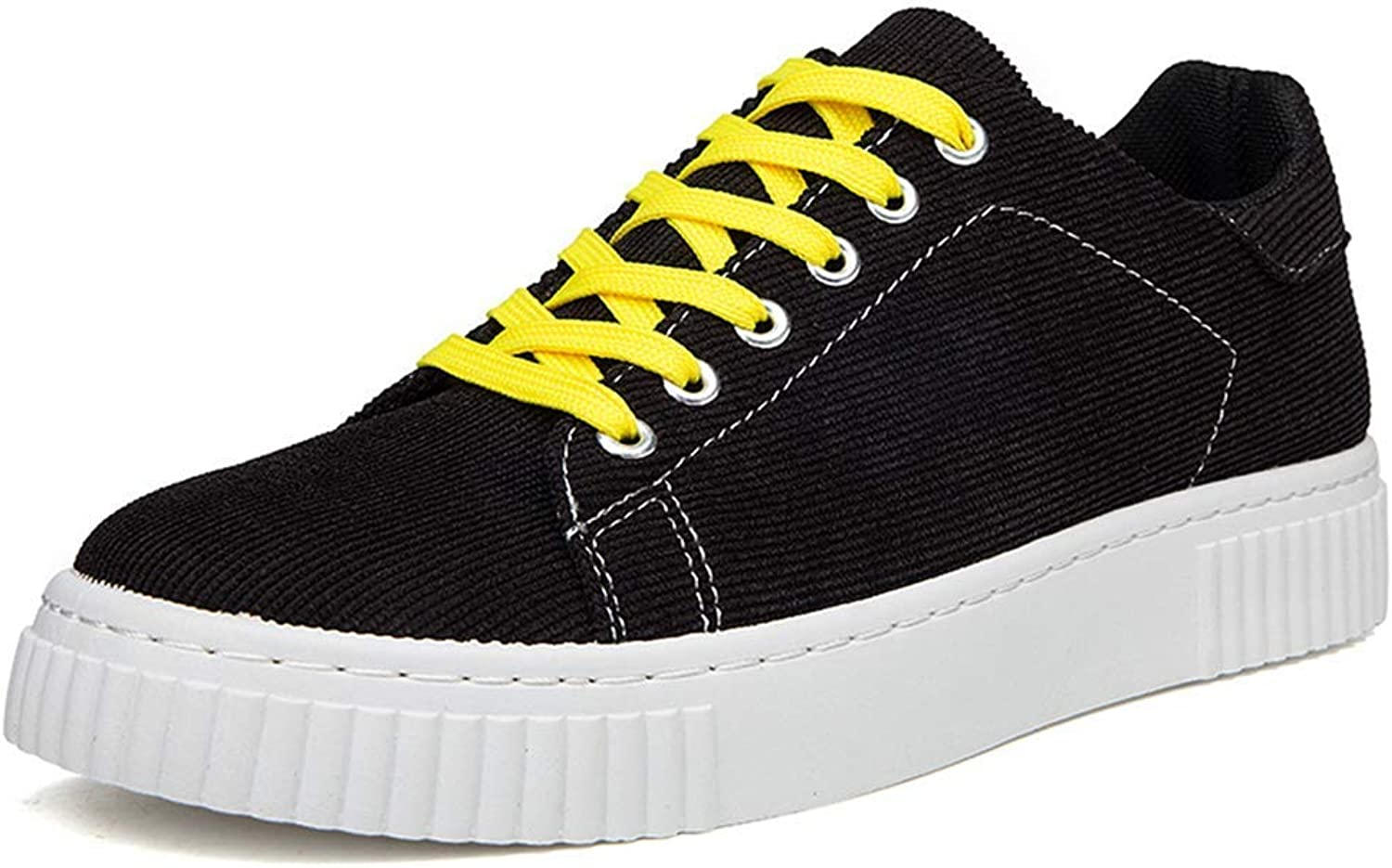 ZHRUI Men Canvas shoes Round Toe Shallow Sewing Man Casual Soft Fashion Sneakers (color   Black, Size   9.5=44 EU)