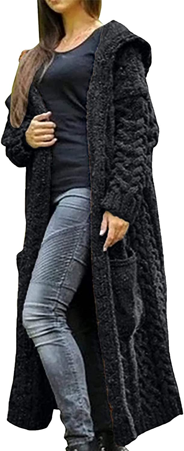 Womens Overcoat Crochet Directly managed store Hooded Long Cable Sweater K New popularity Pattern Bold