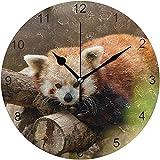 Reloj de Pared No tictac Moda Silenciosa Decoración del hogar RAD Pnada On The Wood Round