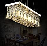 7PM W40' x D10' Modern Rain Drop Rectangle Clear K9 Crystal Chandelier...