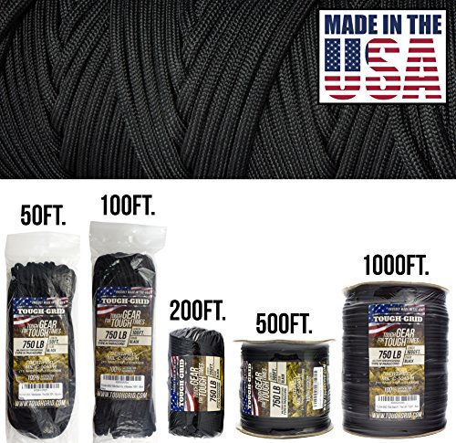 TOUGH-GRID 750lb Paracord/Parachute Cord - Genuine Mil Spec Type IV 750lb Paracord Used by The US Military (MIl-C-5040-H) - 100% Nylon - Made in The USA. 1