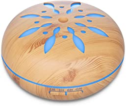 Seamei 550ml Essential Oil Diffuser Wood Grain Aromatherapy Diffuser Ultrasonic Cool Mist Humidifier with 7 Color LED Lights Changing Waterless Auto Shut-off Bedroom Office Home Baby Room Yoga