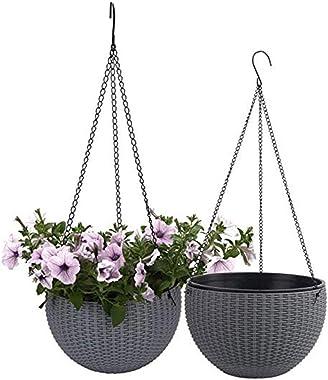 Atlnso Lot de 2 pots de fleurs suspendus en plastique avec égouttoir pour plantes en extérieur Gris