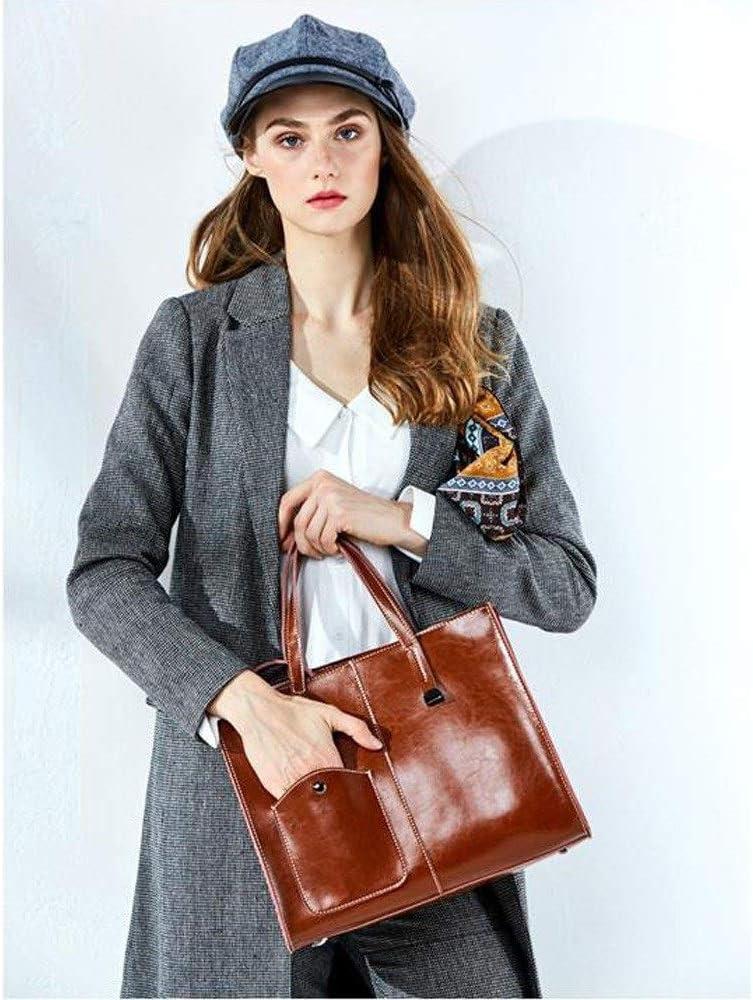 HLWAWA BANDOULIÈRE Huile Véritable Petit Femmes Portable Tassel Cire Sac bandoulière en Cuir for Sac en Cuir Voyage d'affaires (Color : Brown) Brown