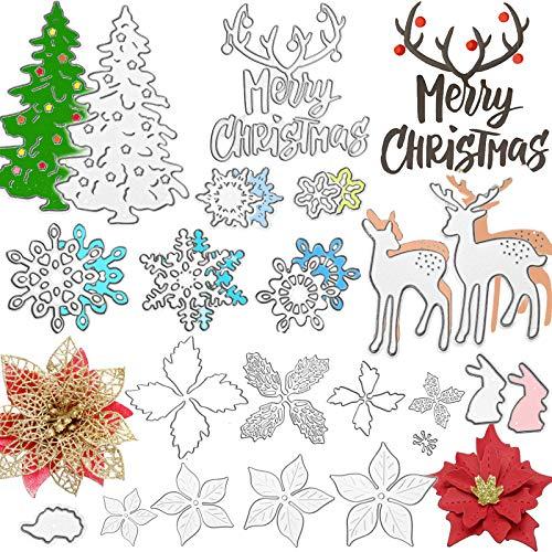 20 Pieces Merry Christmas Metal Cutting Dies Christmas Flower Cutting Dies, Snowflake, Deer, Xmas Tree Cut Stencils for Making Photo Decorative Paper Scrapbooking Embossing Card