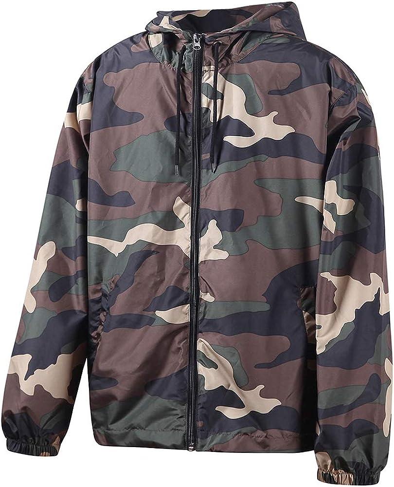 Beautiful Giant Men's Camouflage Print Hunting Hoodie Windbreaker Jacket