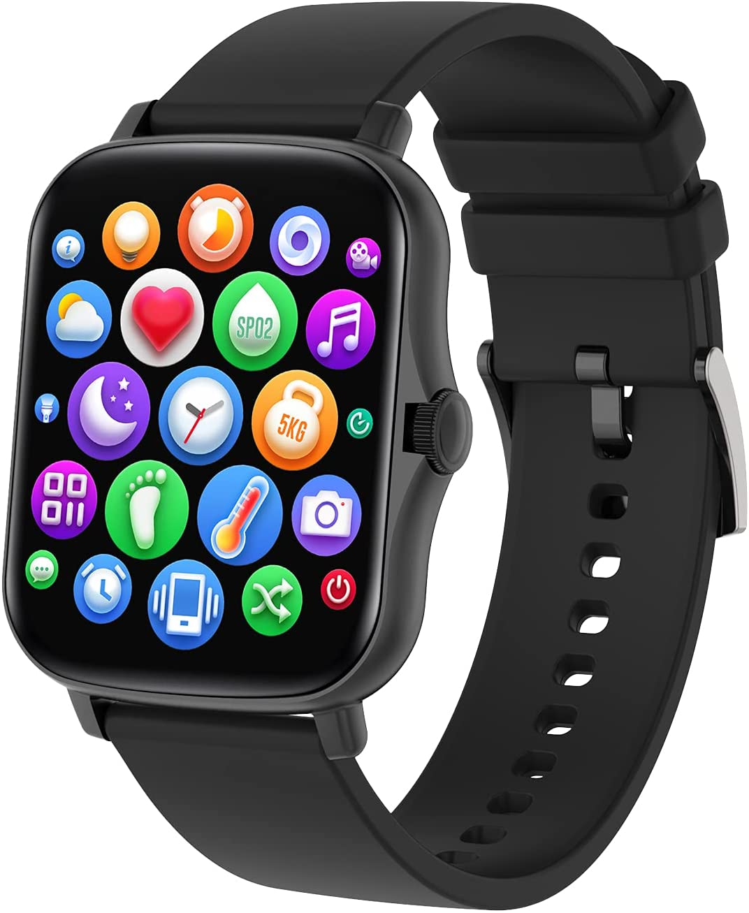 COLMI 1.69 inch Smart Watch for Men Women, 2021 New Upgraded Smartwatch P8plus Compatible with iPhone Andriod,Waterproof Fitness Tracker with Heart Rate Blood Pressure and SpO2 Monitor (Black)