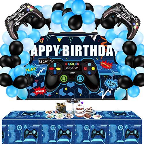 34 Suministros de Fiesta de Videojuegos Kit de Globos y Fondo de Juego de Happy Birthday Incluye Fondo de Videojuego, Funda de Mesa de Juego, Globos de Controlador para Cumpleaños de Tema de Juego