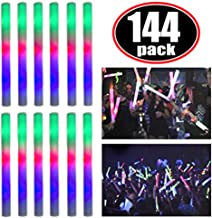 Super Z Outlet Upgraded Light up Foam Sticks, 3 Modes Colorful Flashing LED Strobe Stick for Party, Concert and Event (144 Pack)