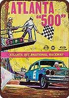 レーシングカーレースウェイティンサイン8x12インチヴィンテージホームバスルームとバーの壁の装飾車の車両ナンバープレートお土産メタルティンサインプラーク