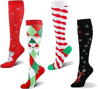 BstAmzStore Medical Sport Compression Socks Women Men,4Pair 20-30mmhg Edema Running Compression Socks for Nurse Pregnant Christmas (4Pair_Chriatmas1, S-M)
