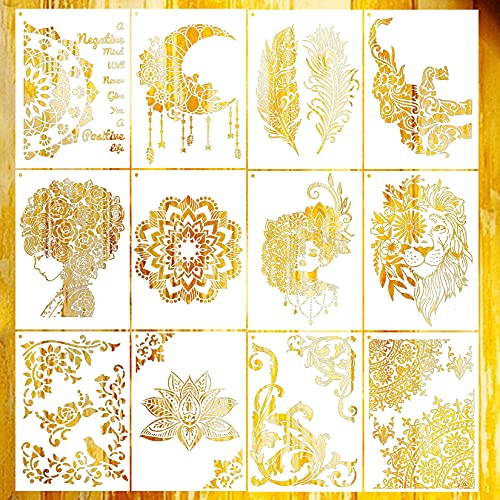 12 Pcs Mandala Stencil Large Stencils for Painting on Canvas Moon Elephant Boho Stencil Floral Feather Border Floor Stencil for Painting on Wood Reusable Drawing Stencil for Crafts Decor (A4 Size)
