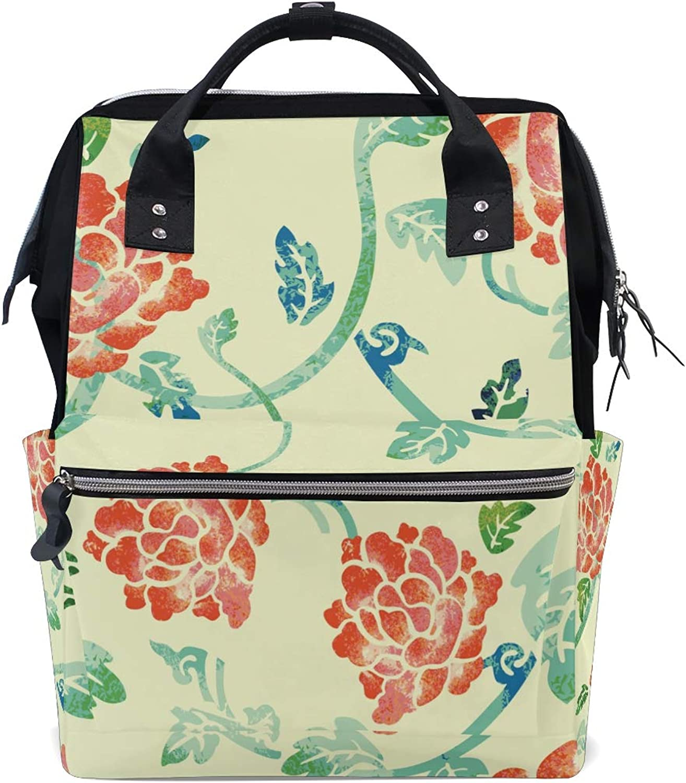 c98ae554187e Diaper bag Backpack Brush Flower Tote Bag Casual Daypack ...