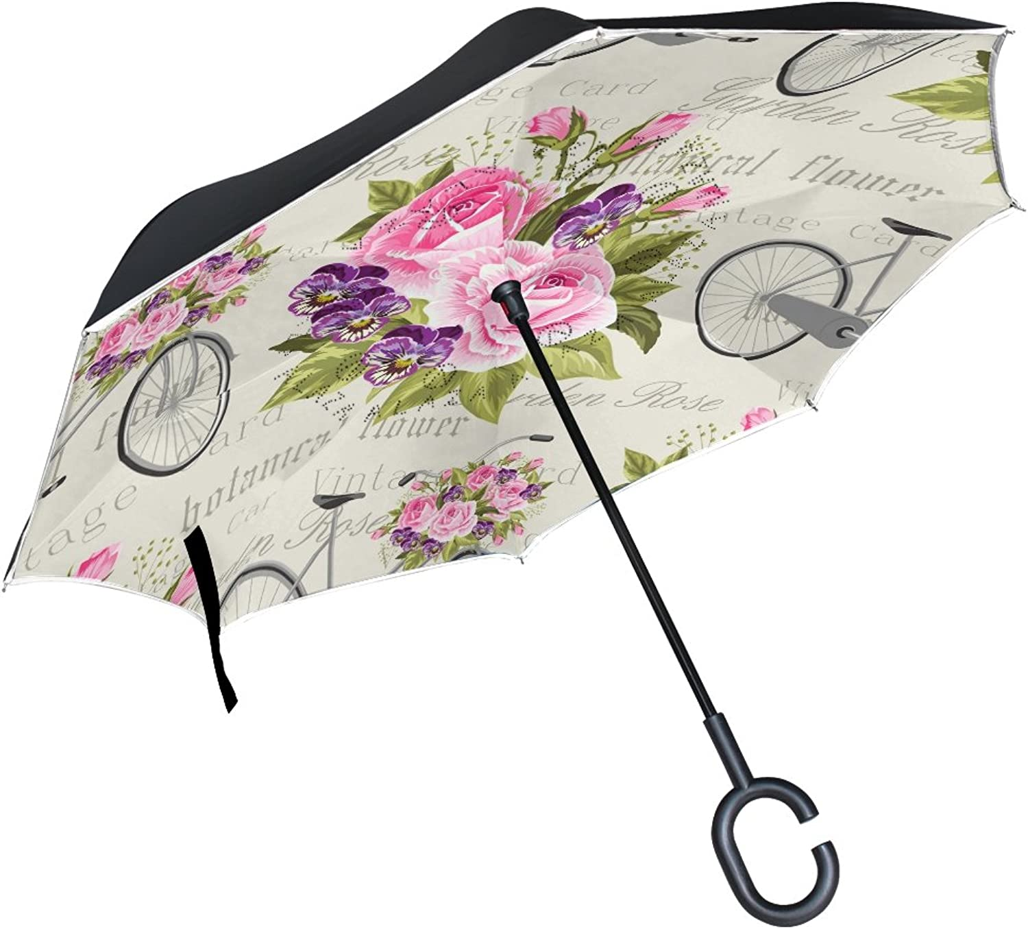 Mydaily Double Layer Ingreened Umbrella Cars Reverse Umbrella pink Bicycle Vintage Floral Windproof UV Proof Travel Outdoor Umbrella
