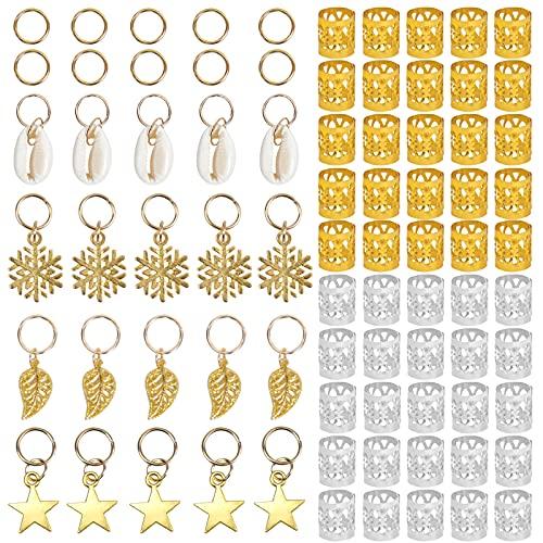 Changrongsheng 80 Piezas Anillos de Trenza de Pelo de Aluminio, Bobina de Pelo Cabello Adjustable Dreadlocks Puños de Pelo de Metal Cobre y Encantos Colgantes Decoración para Accesorios de Peinado