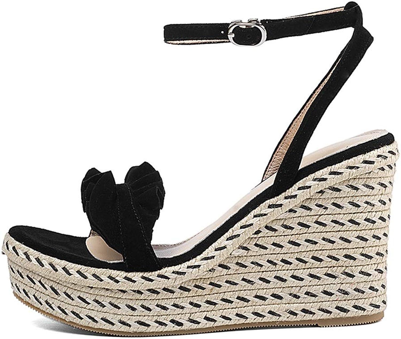 Meng Wei Shop Sommer Sandalen Mit Keilabsatz Frauen Casual High Heels Stilvolle Damenschuhe Bequeme Flats Open Toe Sandale Hoch 10 cm (Farbe   schwarz, Größe   34 US5)