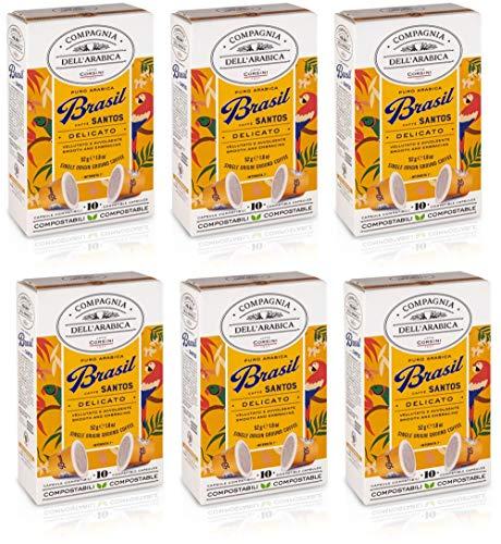 Caffè Corsini Compagnia Dell'Arabica 100% Arabica Brésil Café Nespresso Capsules 60 Unités 310 g