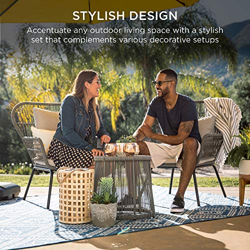 Best Choice Products 3-Piece Patio Conversation Bistro Set, Outdoor All-Weather Wicker Furniture for Porch, Backyard w/ 2 Wide Ergonomic Chairs, Cushions, Glass Top Side Table - Gray