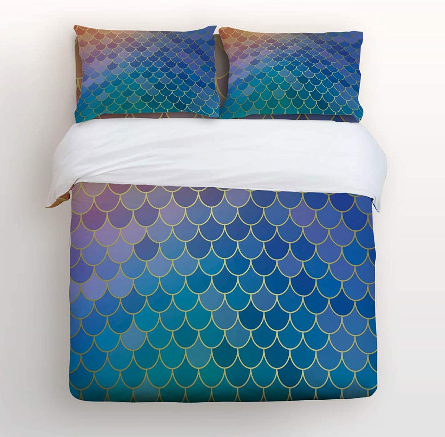 Fandim Fly Bedding Set Twin Size colorful Mermaid Tail Scale Geometric Pattern,Comforter Cover Sets for All Season