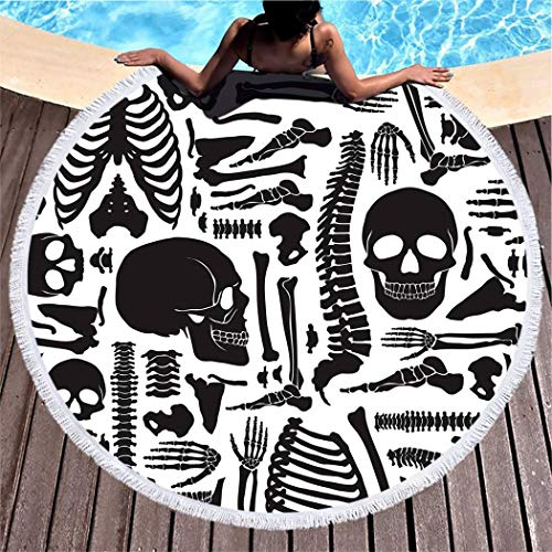 """Abstract Beach Towel,Outdoors Pool Soft Breathable for Hiking and Camping High Absorption & Portable, Lightweight,Monochrome Human Skeleton Big Skulls and Various Single Bones Flat,60"""""""
