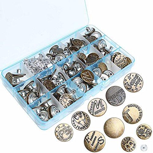 sicai 100 Sets Jeans Button, Cowboy Schnallen und Nieten Jeans Tack Tasten mit Aufbewahrungsbox, bronze